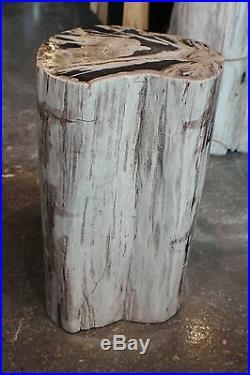 15 H x 10 x 11 petrified wood stool black white yellow brown full polish 366Z