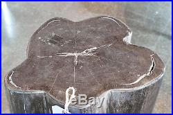 15 H x 13 x 12 petrified wood stool black white full polish beautiful cut 366W