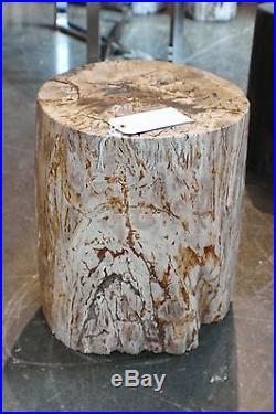 16 H x 13 x 13 petrified wood stool black gray white yellow full polish 366V