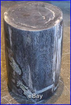 17 H x 11 x 11 petrified wood stool black gray white full polish handmade 366e
