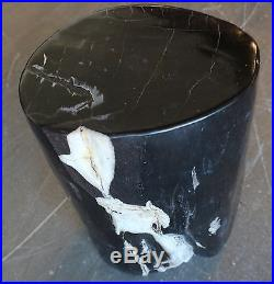 17 H x 11 x 8 petrified wood stool black white full polish hand made 366c