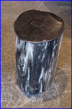 18 H x 10 x 11 petrified wood stool black gray white full polish 366j