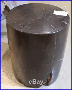 20 H beautiful petrified wood heavy stool fully polished black white accents