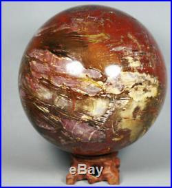 6.18lb Natural Petrified Wood Sphere Fossil Agate Quartz Crystal Ball Madagascar