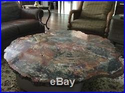 Petrified Wood Table Top Round Arizona Red, Gray, Black, Tan 44.5 X 1.5 thick