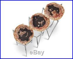 Set of three 26 H Petrified wood side end table white black brown steel legs