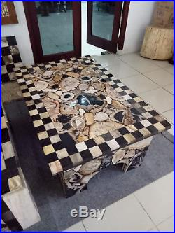 Wholesale 2 Ton MIX Indonesia Petrified Wood Stools Top Side Table Slab Sink